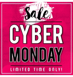 Cyber Monday sale banner on pink background vector image