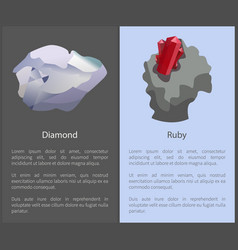 diamond and ruby set of posters text cubic crystal vector image