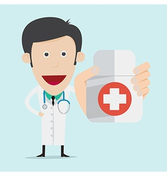 Doctor wearing a medical suit holding drug bottle vector