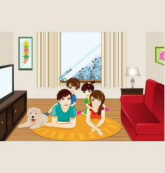 family at home vector image