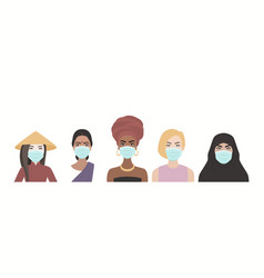 Five masked women multi-ethnic different vector
