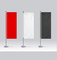 flag banner mockup realistic blank hanging vector image