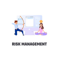 Flat style business scene with tiny people risk vector