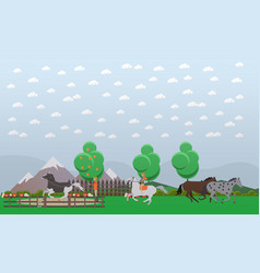 free or wild horses in flat vector image
