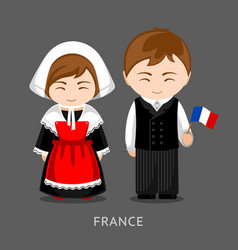 French in national dress with a flag vector