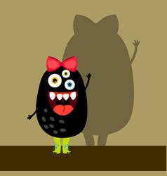 Funny black girl monster vector