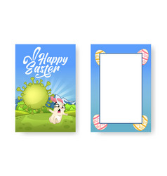 funny easter bunny is running away from huge vector image