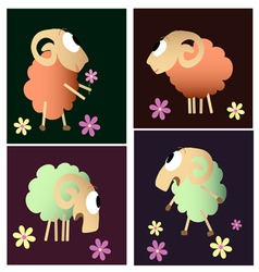 funny sheep cartoon collection vector image