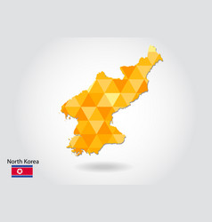 geometric polygonal style map of north korea low vector image