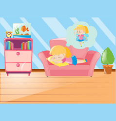 Girl napping on sofa in living room vector