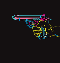 Hand with a gun vector