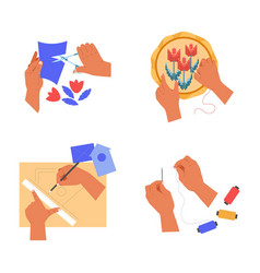 Handicaraft and hands cutting and embroidery vector