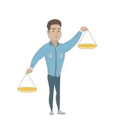 Hispanic businessman holding balance scale vector