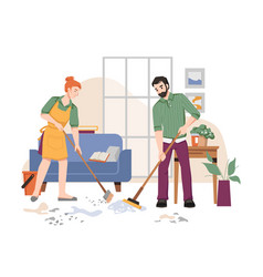 housework couple sweeping cleaning floor in room vector image