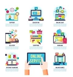 Internet Service Flat Infographics vector