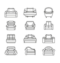 Line icon chair set collection of furniture for vector