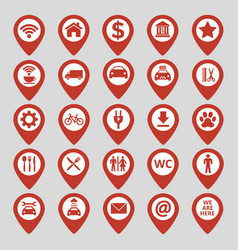 Map pin location icons set on gray background vector