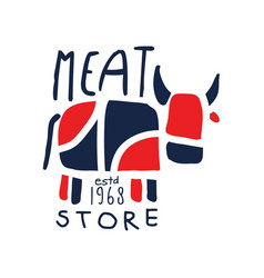 Meat store logo template estd 1968 vintage label vector