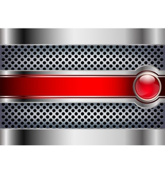 Metallic background with a red button vector