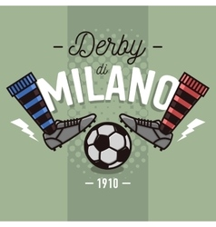 Milanese Derby Label Design Soccer Boots And Ball vector
