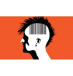Monhawk guy with barcode vector image