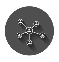 Network icon people connection with long shadow vector