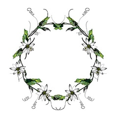 Passiflora white wreath2 vector image