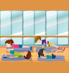 People work out at the gym vector