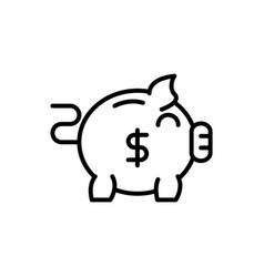 piggy bank coin bank business cash money line vector image