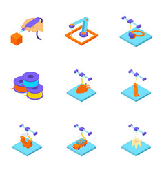 Print with plastic icons set isometric style vector