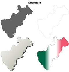 Queretaro blank outline map set vector