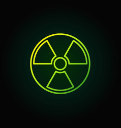 Radiation outline green icon vector