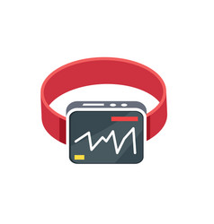 red smart watch flat style on white background vector image