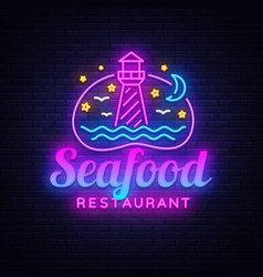 Seafood restaurant neon sign seafood vector