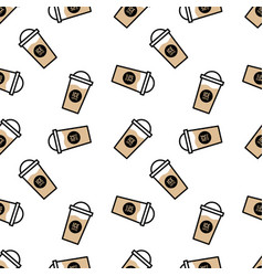 seamless coffee cup pattern - separate layers vector image