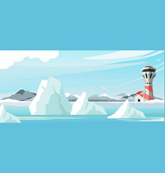 seascape lighthouse icebergs vector image
