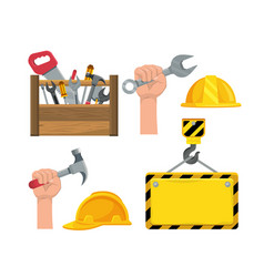 set construction box tool and hand with hammer vector image