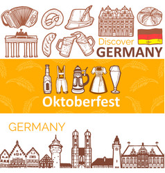 Set horizontal german banners in hand drawn vector