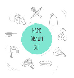 set of bakery icons line style symbols with bakery vector image