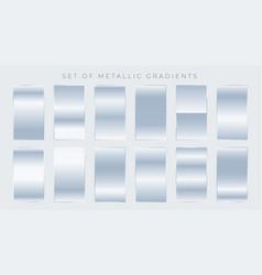 set of shiny silver gradients vector image