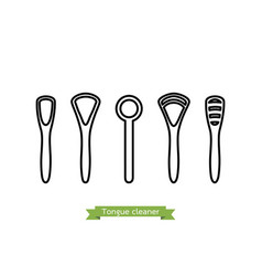 Set of tongue scraper or cleaner type vector