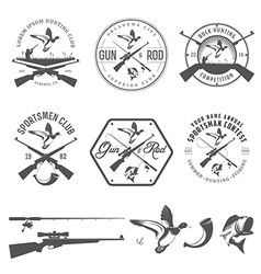 Set of vintage hunting and fishing labels vector