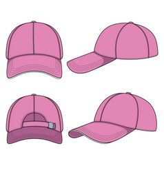 Set of with a pink baseball cap vector