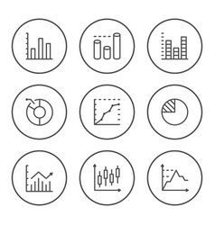 set round line icons graph and diagram vector image