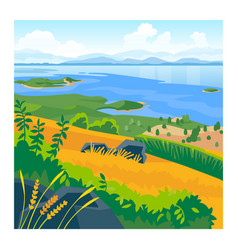 summer landscape with sea and mountains vector image