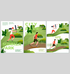 summer posters natural parkland activities vector image