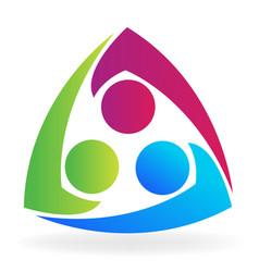 teamwork business friendship people logo vector image
