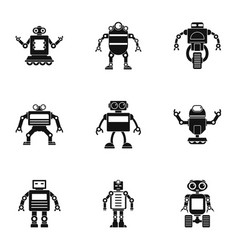 Technology robot icons set simple style vector