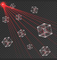 transparent cube abstract red laser beam vector image