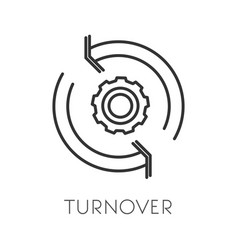 Turnover isolated icon productivity and cogwheel vector